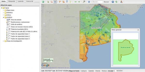Mapa eólico de Buenos Aires
